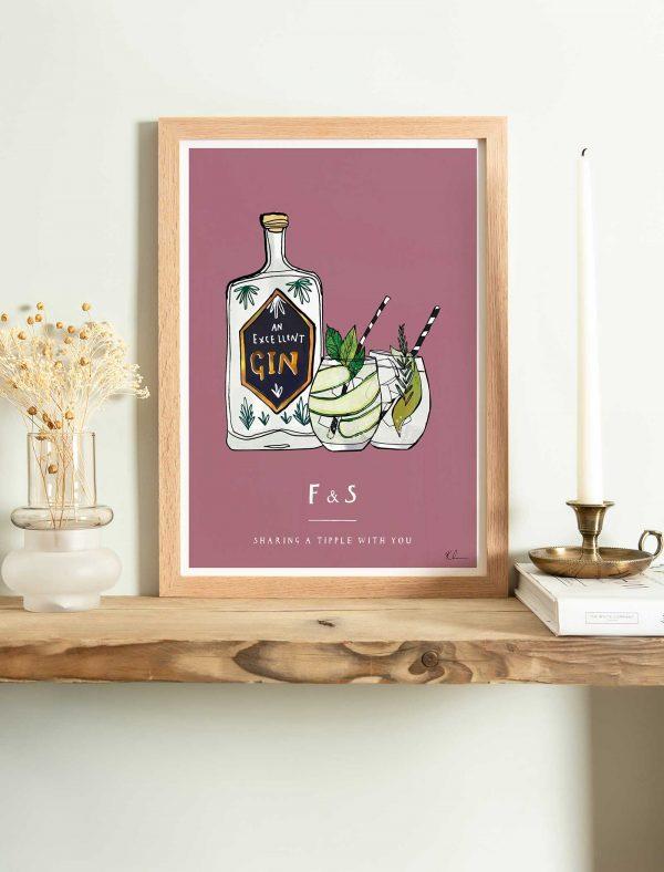 katie cardew personalised gin fine art print