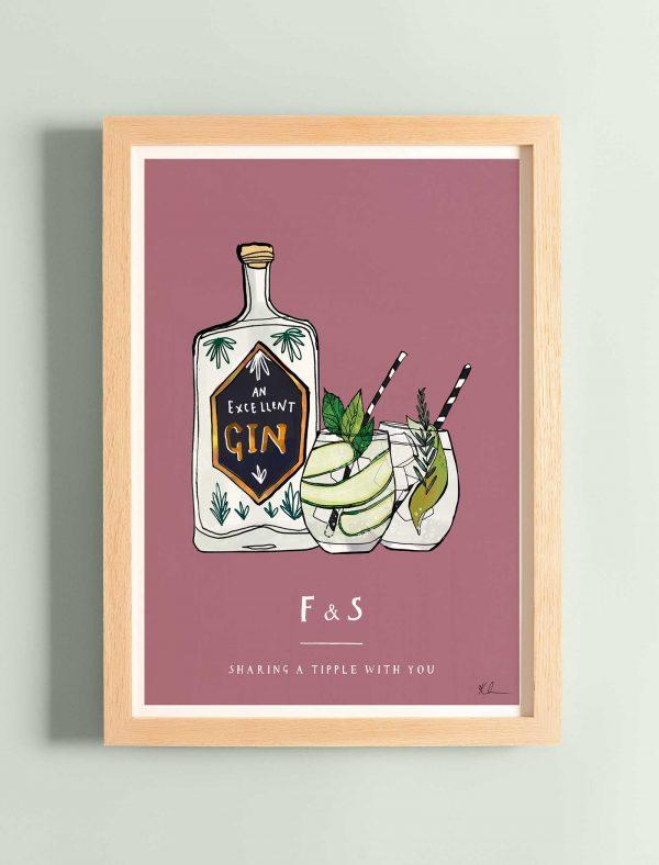 katie cardew personalised gin print
