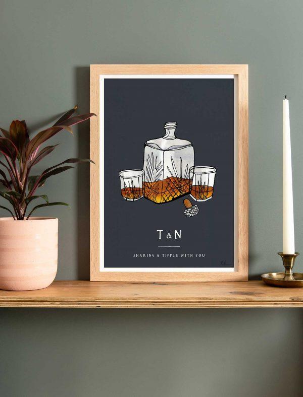 katie cardew personalised whisky fine art print