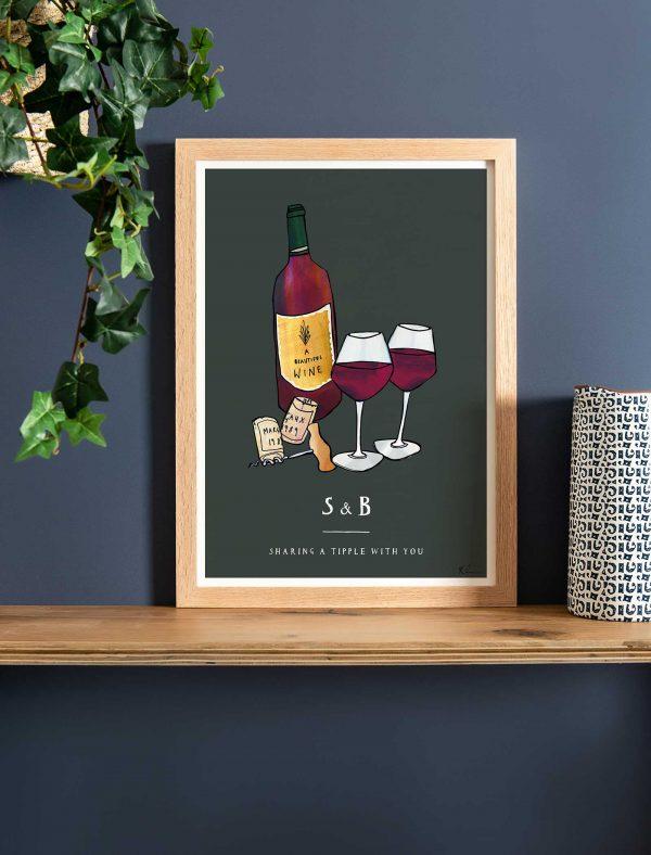 katie cardew personalised wine fine art print