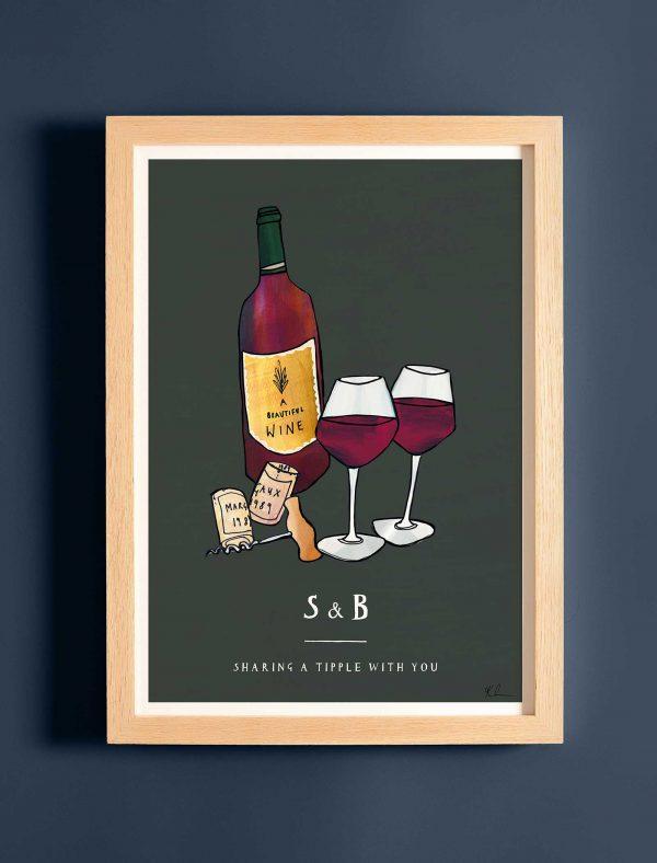 katie cardew personalised wine print