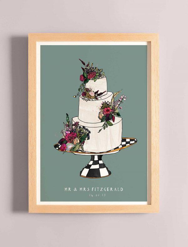 katie cardew wedding cake personalised print