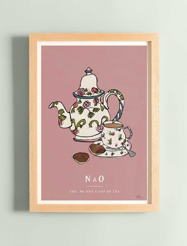 katie cardew you me and a cup of tea personalised print