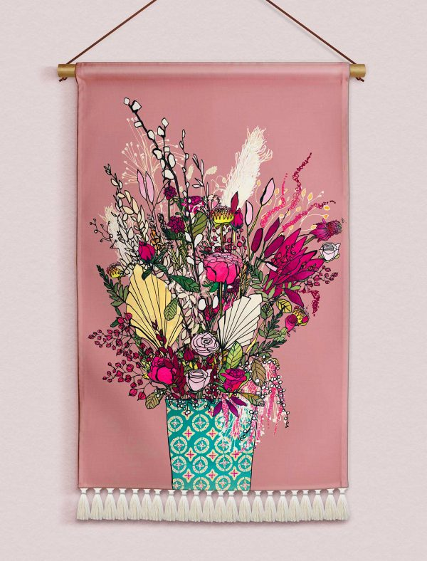 katie cardew wallhanging pink blooms