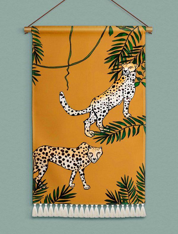 katie cardew wallhanging savannah cheetah
